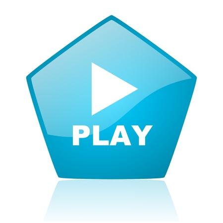 play blue pentagon web glossy icon   photo