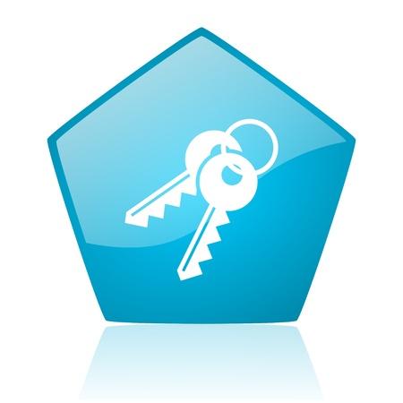 keys blue pentagon web glossy icon Stock Photo - 19171359
