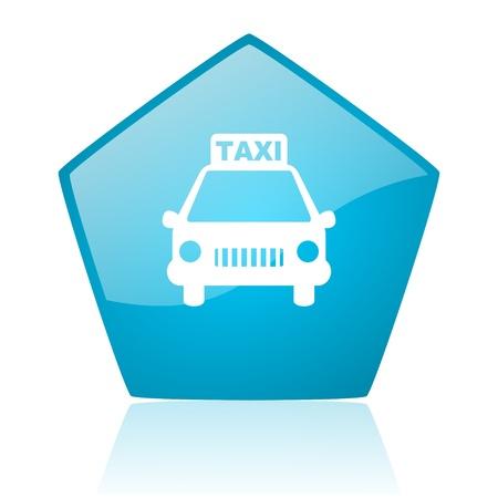 pentagon: taxi blue pentagon web glossy icon