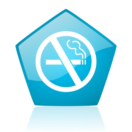 no smoking blue pentagon web glossy icon