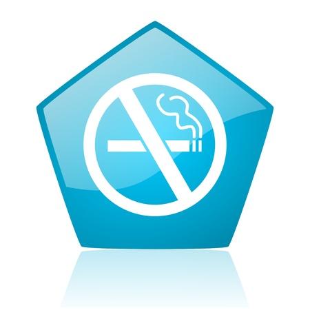 no smoking blue pentagon web glossy icon Stock Photo - 19172303