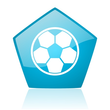 soccer blue pentagon web glossy icon  photo