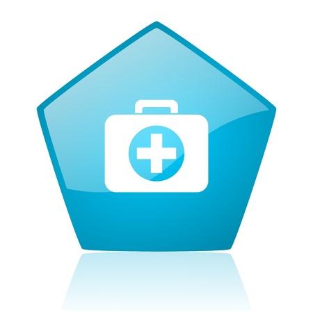 first aid kit blue pentagon web glossy icon  photo