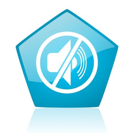 mute blue pentagon web glossy icon Stock Photo - 19172376