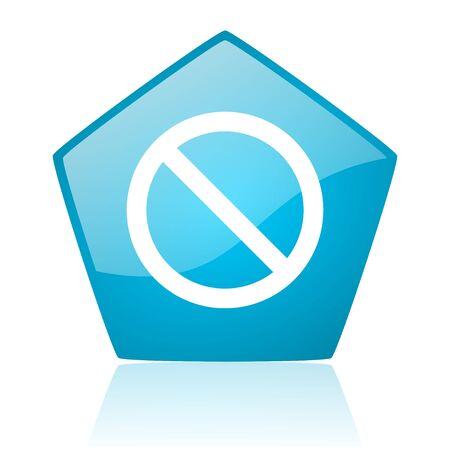 access denied blue pentagon web glossy icon Stock Photo - 19171430