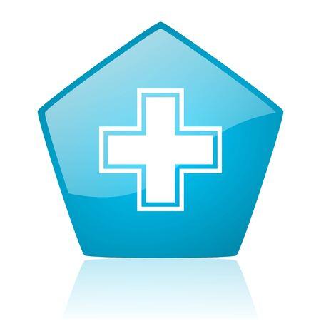 pharmacy blue pentagon web glossy icon  photo