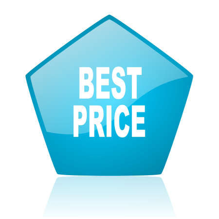 best price blue pentagon web glossy icon