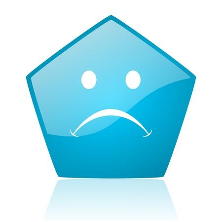 cry blue pentagon web glossy icon Stock Photo - 19171878