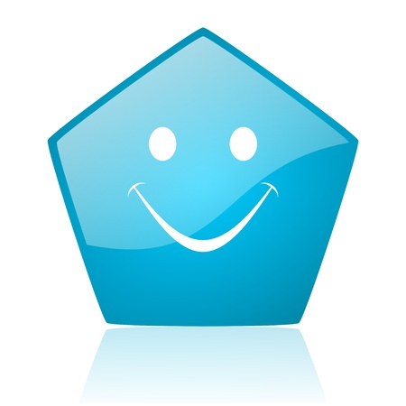 smile blue pentagon web glossy icon