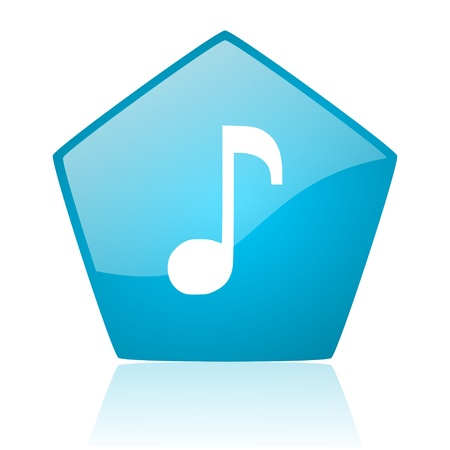 music blue pentagon web glossy icon  photo