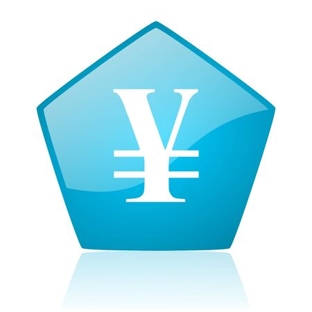yen blue pentagon web glossy icon  photo