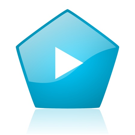 play blue pentagon web glossy icon