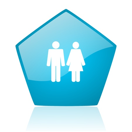 pentagon: couple blue pentagon web glossy icon