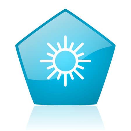 pentagon: sun blue pentagon web glossy icon