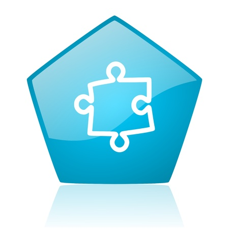 puzzle blue pentagon web glossy icon  photo