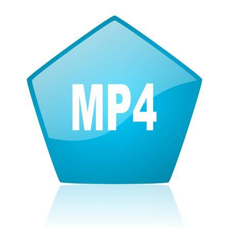mp4 blue pentagon web glossy icon  photo