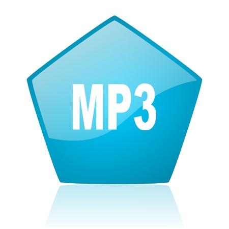 mp3 blue pentagon web glossy icon  photo