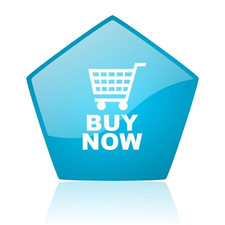 buy now: buy now blue pentagon web glossy icon  Stock Photo