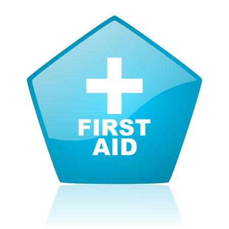 first aid blue pentagon web glossy icon  photo