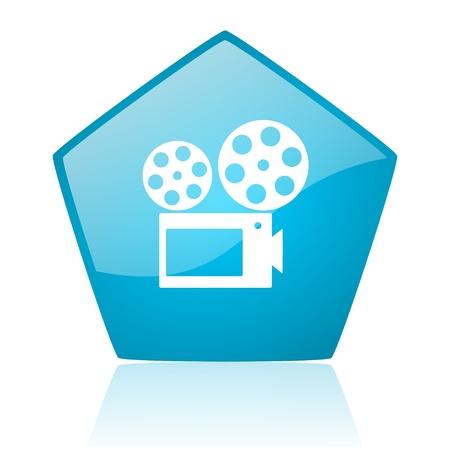 cinema blue pentagon web glossy icon  photo