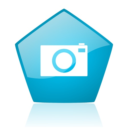 picto: camera blue pentagon web glossy icon