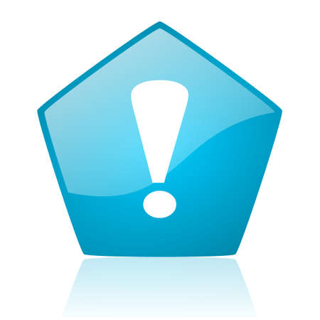 exclamation sign: exclamation sign blue pentagon web glossy icon