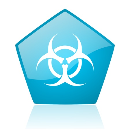 virus blue pentagon web glossy icon