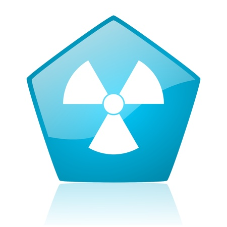 radiation blue pentagon web glossy icon