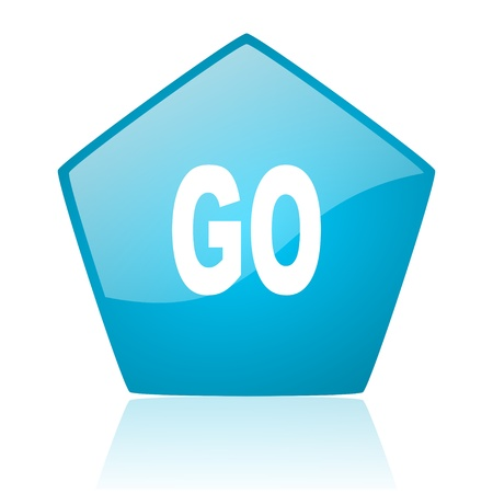 go blue pentagon web glossy icon Stock Photo - 19171839