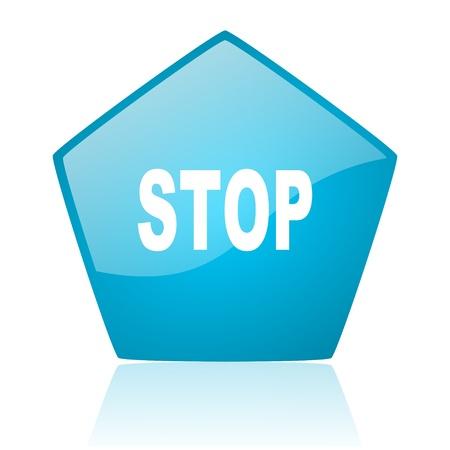 stop blue pentagon web glossy icon Stock Photo - 19171873