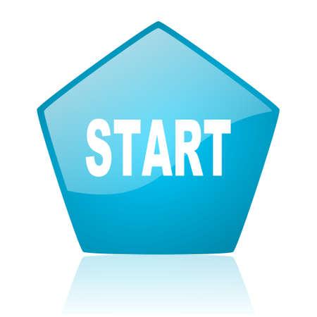 start blue pentagon web glossy icon  photo