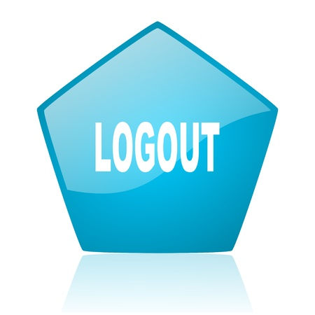 logout blue pentagon web glossy icon  photo