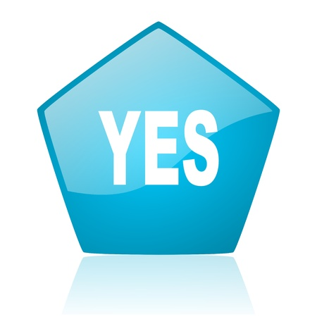 yes blue pentagon web glossy icon Stock Photo - 19171862
