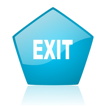 exit blue pentagon web glossy icon  photo