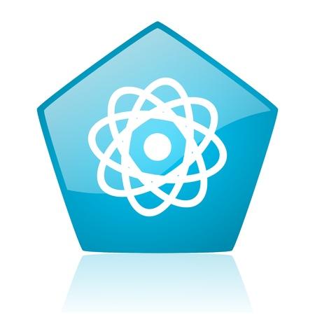 atom blue pentagon web glossy icon Stock Photo - 19172353