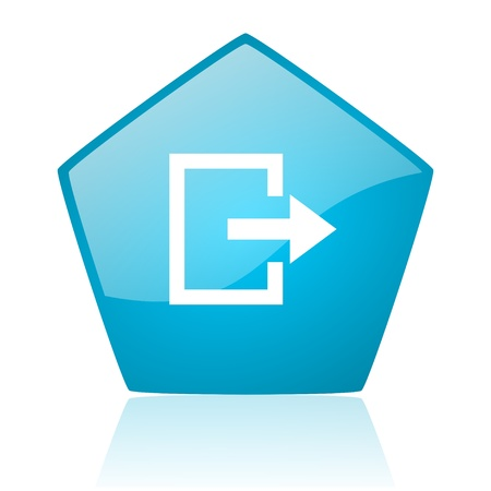 exit blue pentagon web glossy icon