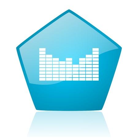sound blue pentagon web glossy icon  photo