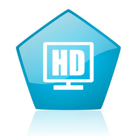 hd display blue pentagon web glossy icon  photo