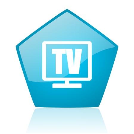 tv blue pentagon web glossy icon  photo