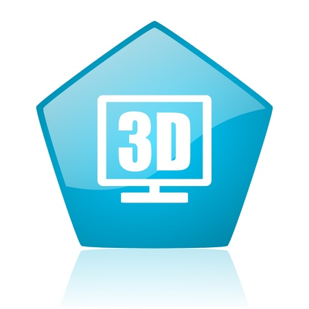 3d display blue pentagon web glossy icon  photo