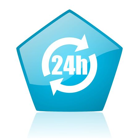 24h blue pentagon web glossy icon