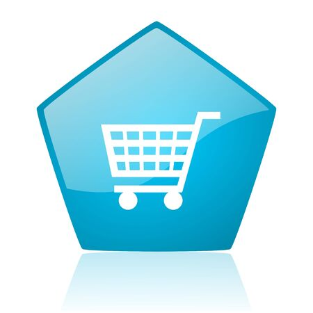 shopping cart blue pentagon web glossy icon