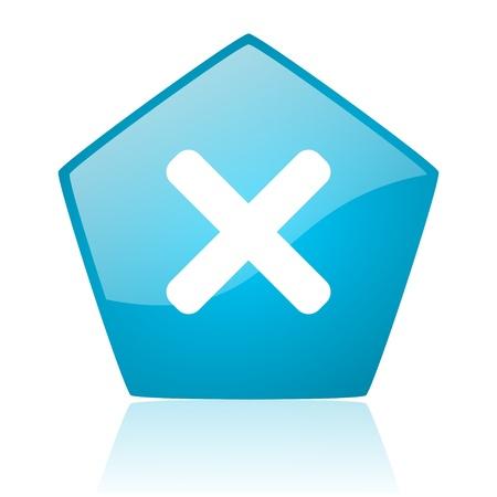 cancel blue pentagon web glossy icon Stock Photo - 19228020