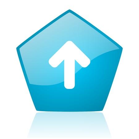 pentagon: arrow up blue pentagon web glossy icon