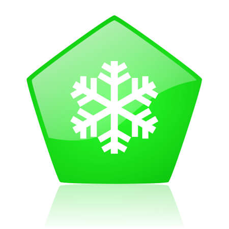 snowflake green pentagon web glossy icon   photo