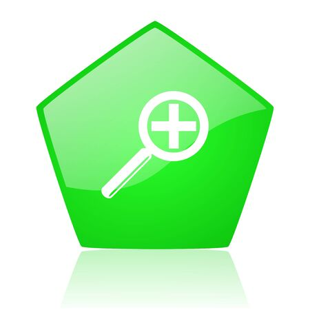 magnification: magnification green pentagon web glossy icon  Stock Photo