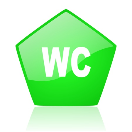 wc green pentagon web glossy icon  photo