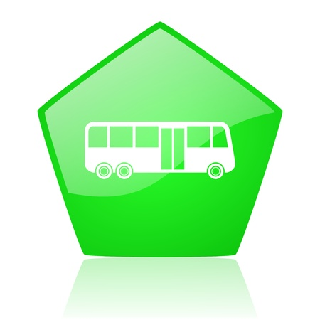 bus green pentagon web glossy icon  photo