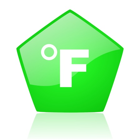 fahrenheit green pentagon web glossy icon