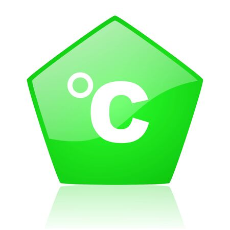 celsius green pentagon web glossy icon